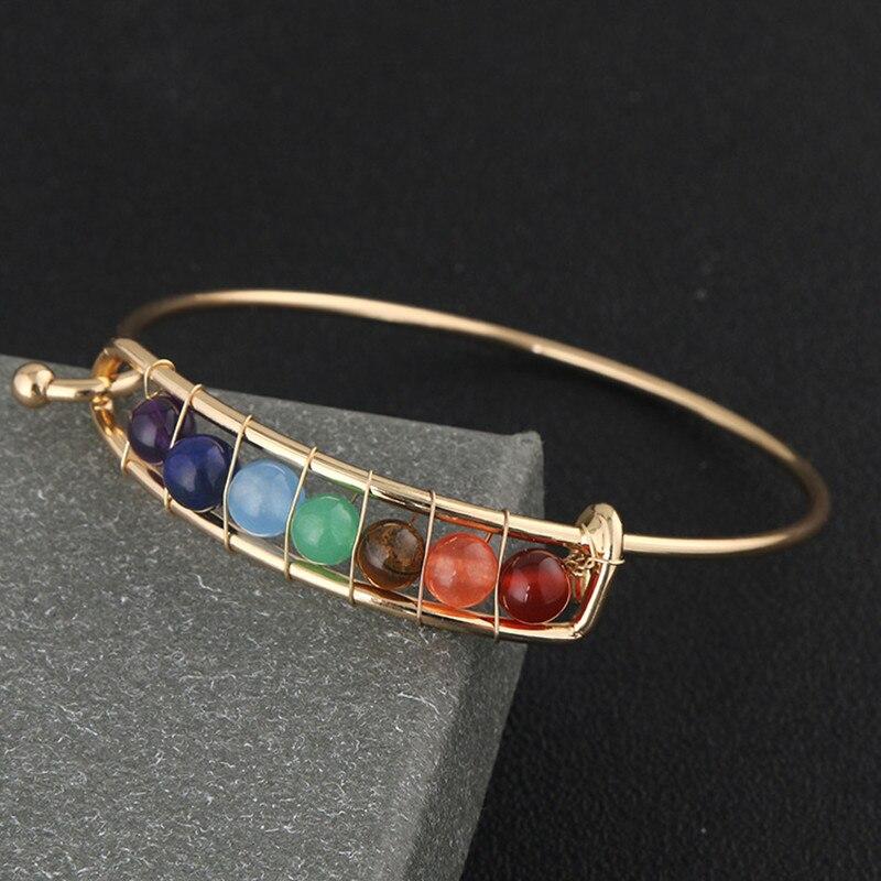 New arrival Women Power Stones Beads Bangles Bohemian Style Wire Braided Bracelets Handmade Charm Cuff Bangles Jewelry