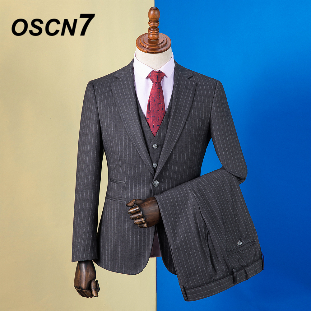 Tailor-made Suits Well-Educated Oscn7 2019 Stripe Custom Made Suits Men Slim Fit Wedding Party Mens Tailor Made Suit Fashion 3 Piece Blazer Pants Vest Zm-584 Sales Of Quality Assurance