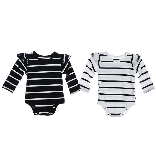 ce26b579d931c Infant Baby Long sleeve Stripe Cotton Jumpsuit Flutter Ruffles Romper  Newborn Girls Summer Fall White Jumpsuit