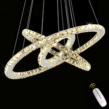Remote Control Crystal Rings Chandeliers For Dining Room Mirror Stainless Steel Modern Led Chandelier Lighting lustre cristal