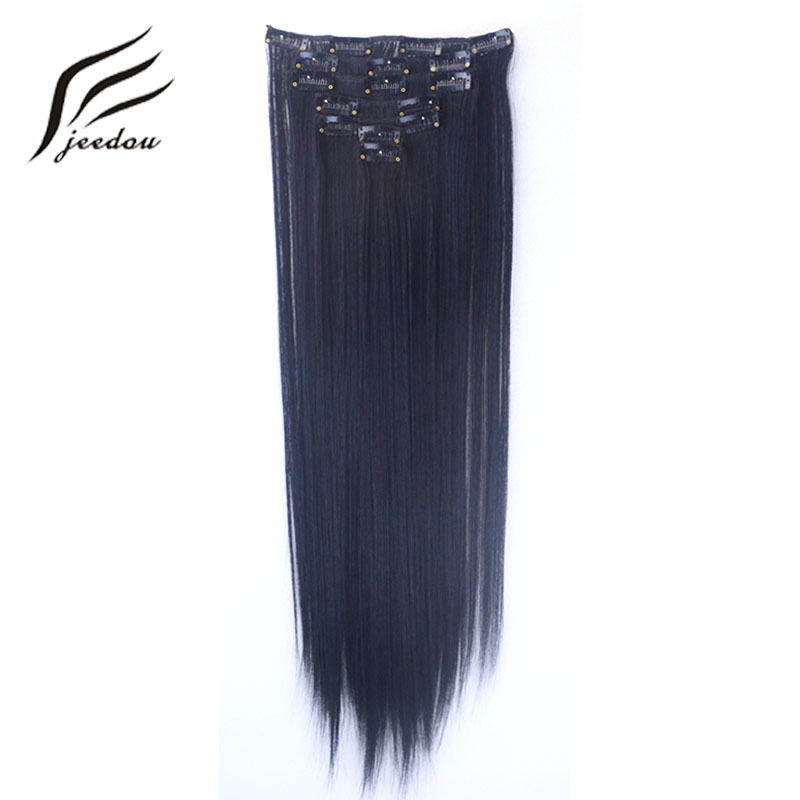 jeedou 7pcs For Full Head Clip In Hair Extensons 2255cm Long Straight False Hair Brown Color Womens Synthetic Hairpiece