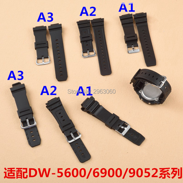 Black White Silicone Rubber Watchband For G Shock GM5610/DW-6900/5600/9052 Serie