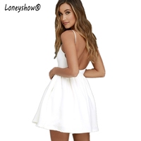 Loneyshow Elegant Dresses Summer Boho Spaghetti Strap Women Dress White A Line Backless Sexy Vestidos 2017