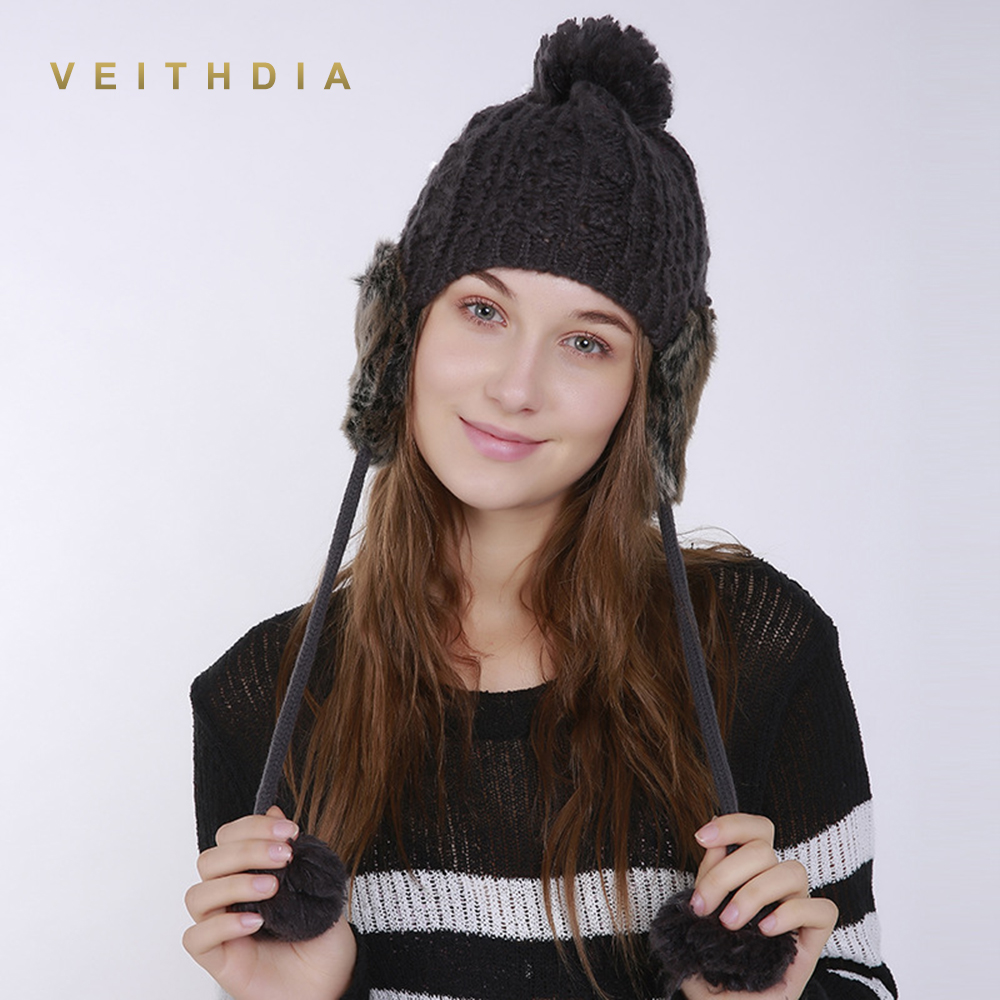 VEITHDIA Winter Women Handmade Beanie Bomber Hat Thick Knitted Earflap Female Girl Warm Ear Knitting Ball Trapper Bomber Cap