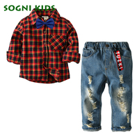 Classic Boys Clothing Sets Spring Autumn New Fashion Long Plaid Red Or Blue Bow Tie Shirts