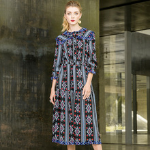 Three quarter sleeve hollow out embroidery print dress 2018 new o-neck women autumn long