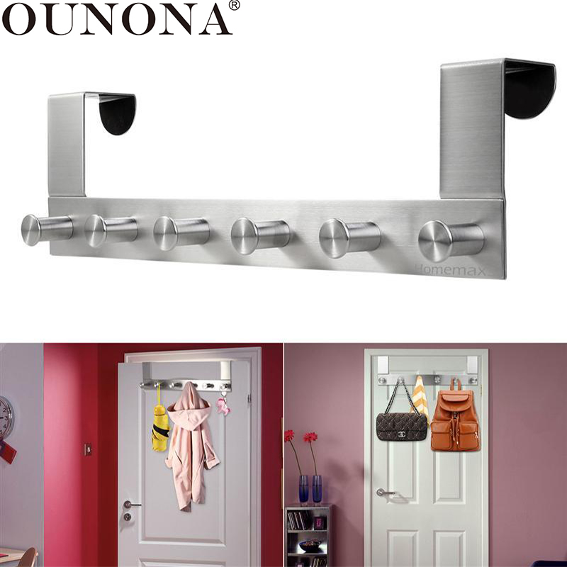 OUNONA Stainless Steel Door Hook Wall Hanging Rack Over The Door Cloth Pants Hat Towel Hooks Cabinet Back Hook With 6 Hooks