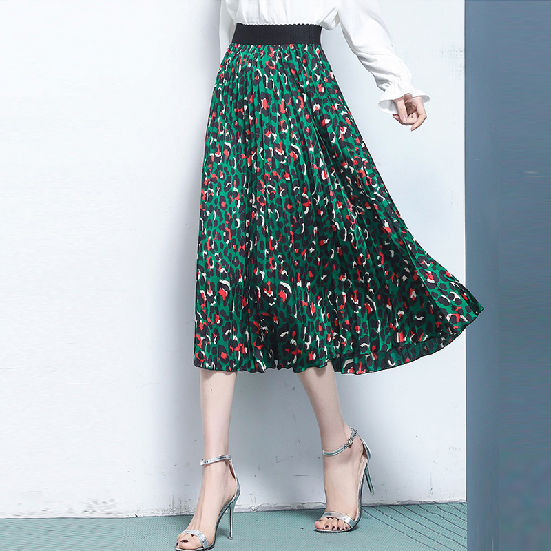 Summer 2019 Fashion Womens Stylish Green Leopard Print Pleated Skirt , Female Women Casual High Waisted 3xl 4xl Chiffon Skirts