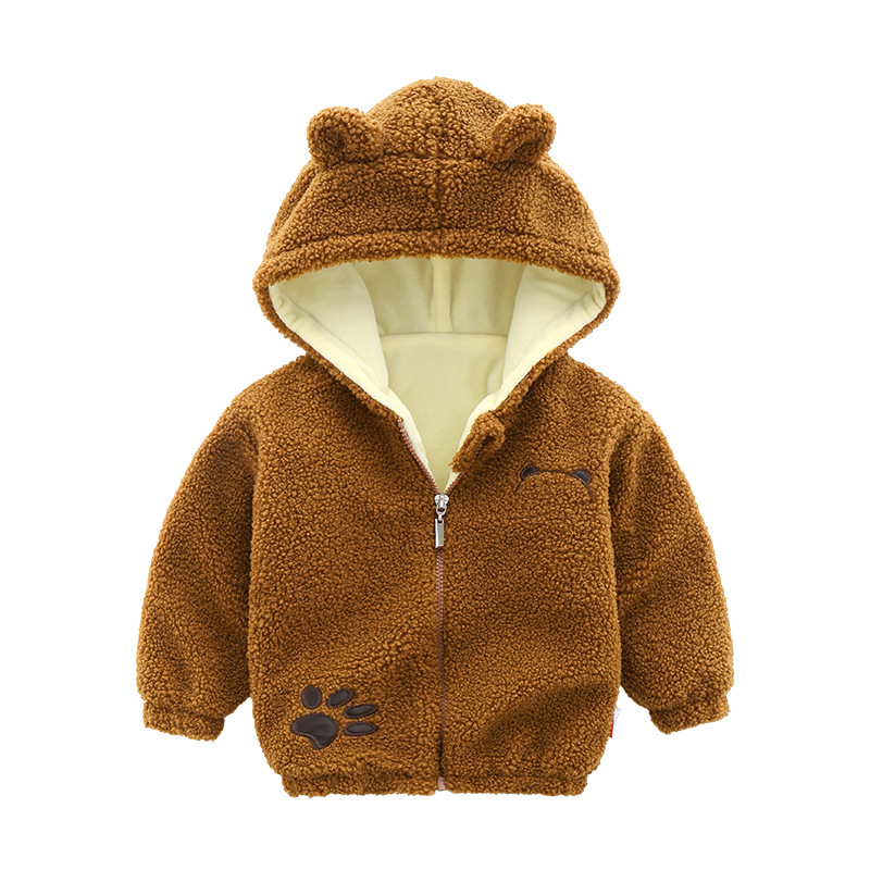 Jackets Warm-Coats Girl's Baby-Boys Winter Fashion And Cartoon Hooded Solid-Color