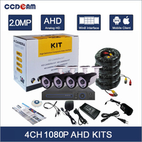 4CH Full HD 1080P AHD Camera Kit IR Night Vision 2 Megapixel Mini Security Camera Outdoor