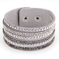 12pcs Crystal bracelets&bangles for women multilayer rhinestone slake leather bracelet crystal long braclet 2015 fashion jewelry