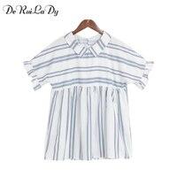 DeRuiLaDy Women 2017 Fashion Shirt Lapel Chic Ruffles Short Sleeve Stripes Women Blouses Summer Casual Tops