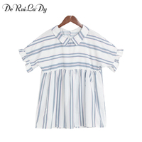 DeRuiLaDy Women 2017 Fashion Shirt Lapel Chic Ruffles Short Sleeve Stripes Women Blouses Summer Casual Tops