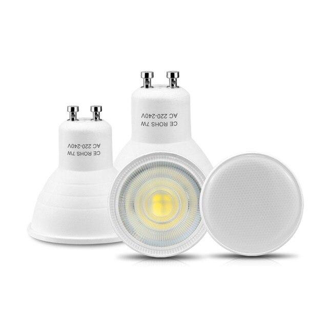 10ピース/パックGU10 led電球7ワットac 220v ledランプledスポットライト120/ 30度ビーム角度bombillas天井凹部照明
