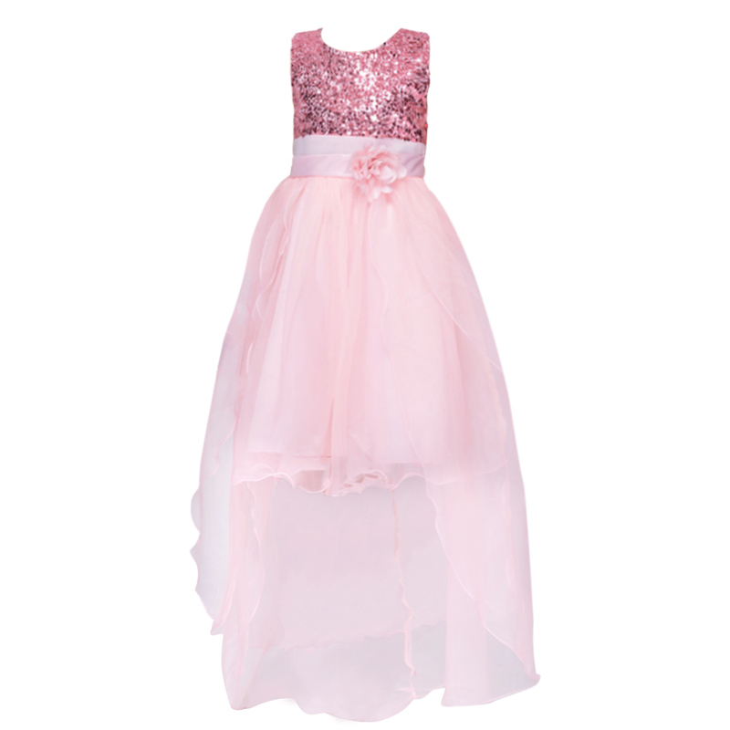 New Kids Girls Birthday Girl Dress Cute Sequin Sleeveless Vest Princess trailing Dress 11 color Baby Dresses For Girls Vestido