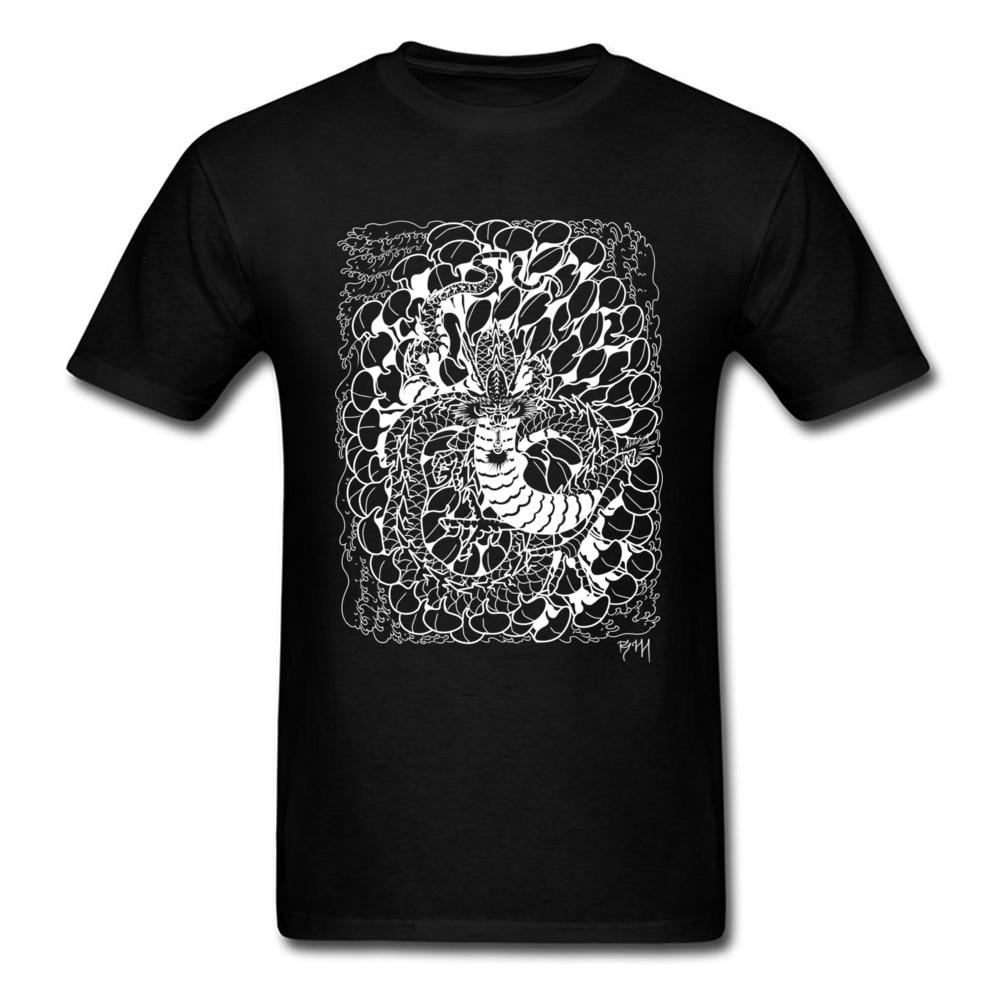 Chrysanthemum Dragon New Arrival Printing T Shirt O-Neck Autumn 100% Cotton Fabric Short Sleeve Tshirts for Men cosie Tee-Shirt Chrysanthemum Dragon black
