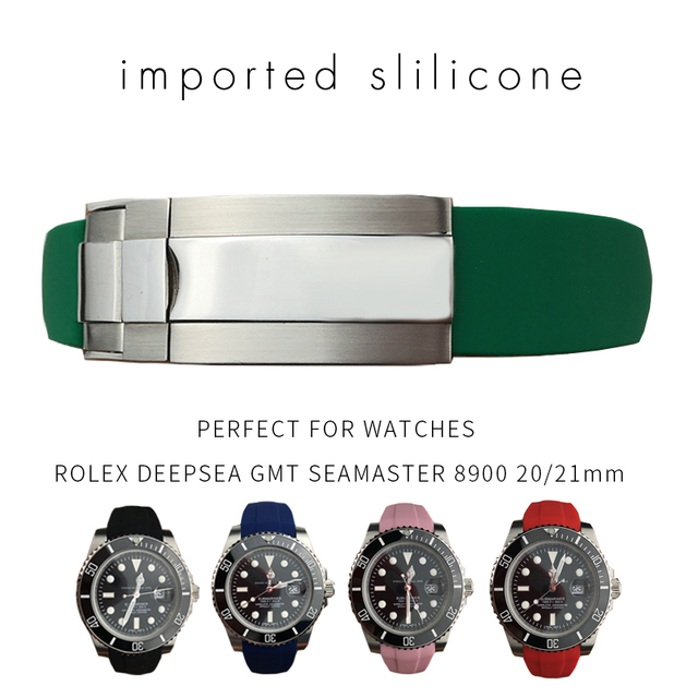 20mm 21mm Rubber Silicone Watch Strap Combination Buckle Watchband for Role Dayt