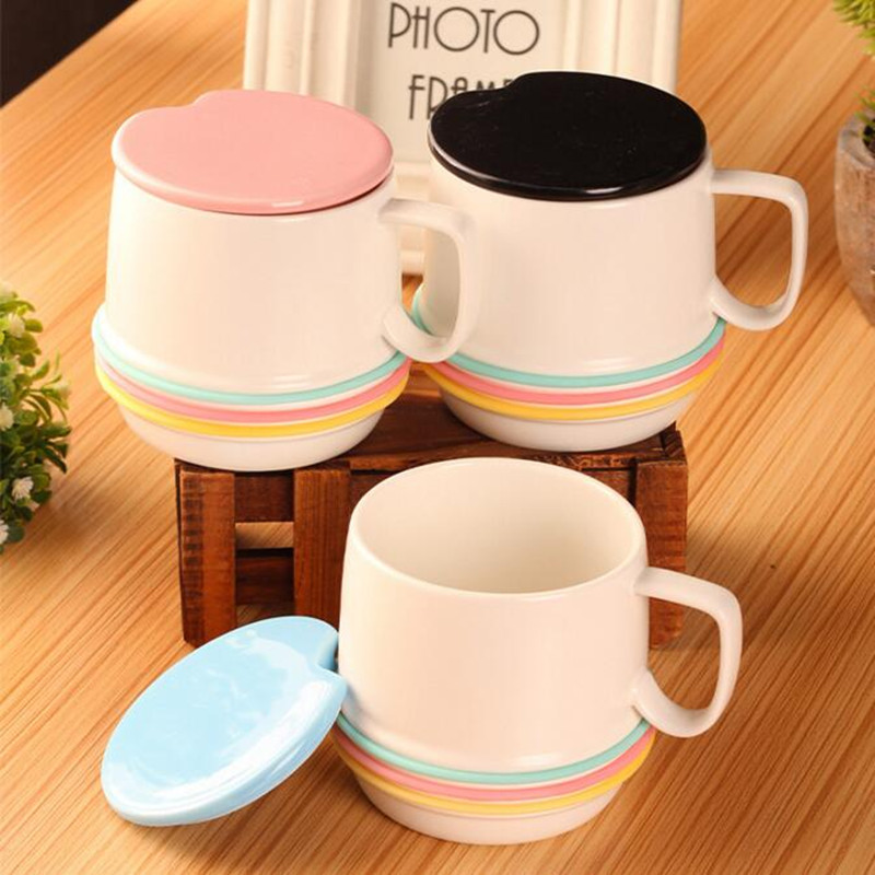 Neon Rainbow Stripes Mugs Coffee Cups With Cover To Send Spoon Ceramic Couple Cups For girlfriend Gifts