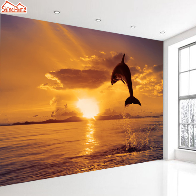 ShineHome Dolphin Jumping Sea Sunset Dusk Animal Wallpaper Murals Rolls For 3d Walls Wallpapers