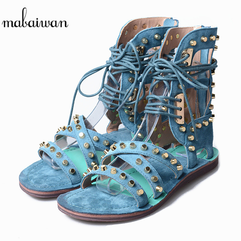 Mabaiwan Blue Women Shoes Summer Sandals Natrual Genuine Leather Shoes Woman Rivet Gladiator Open Toe Feminino Breathable Flats mabaiwan women shoes genuine leather summer sandals casual platform wedge shoes woman rivets gladiator wedges breathable sandal