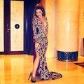 Celebridades 2014 envío gratis cuadros verdaderos de la celebridad del vestido bordado profundamente v-cuello de manga larga de celebridades Vestidos
