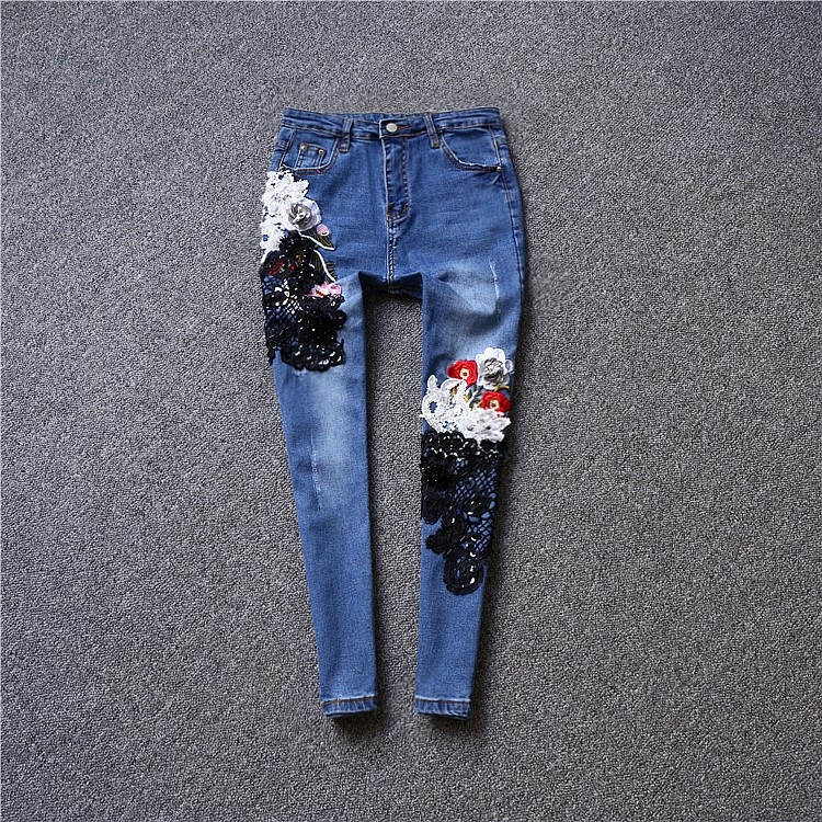 Brand fashion women's luxury high-end flowers break embroidery sequins Slim jeans pants