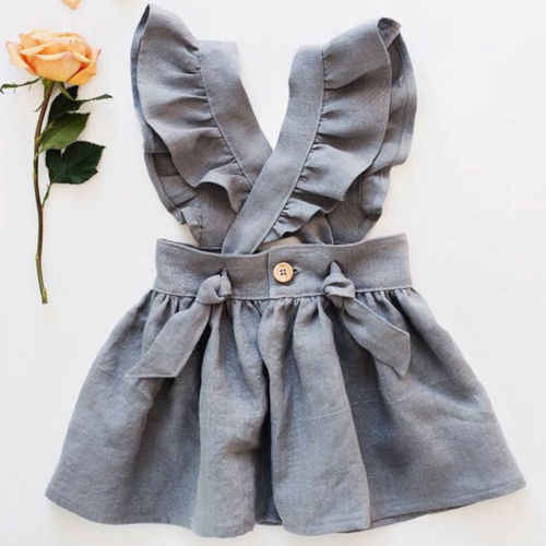 US Kid Baby Girl Cross Strap Dress Party Dress Fuffel Sleeve Solid Dress Clothes
