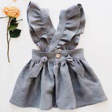 US Kid Baby Girl Cross Strap Dress Party Dress Fuffel Sleeve