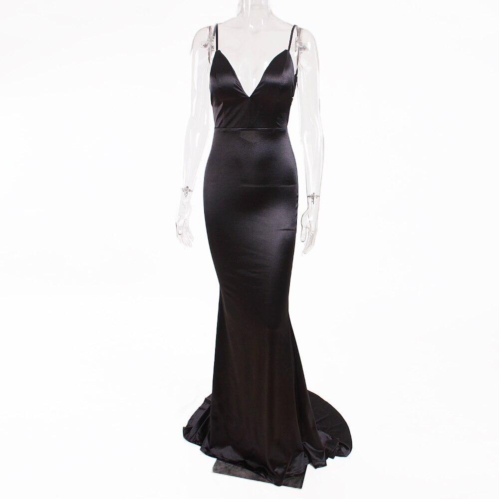 Deep V-Neck Burgundy Satin Mermaid Open Back Long Evening Dress 36