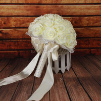 Bride Bouquet Artificial PE Foam Rose Flowers Wedding Bouquet With Pearls Rhinestone Lace Satin Ribbons Bow