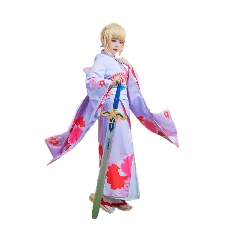Fate Stay Night Saber Cosplay Costume Saber Kimono Costume for Women Halloween
