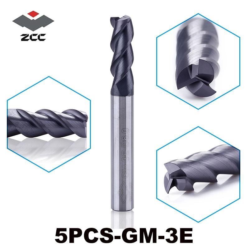5 vnt / partija GM-3E D1.0-D6.0 cnc medienos frezavimo antgaliai, padengti TiAIN dengtu kietu karbidu, 3 fleita, 1-6 mm galo frezavimo pjaustyklė, plieno cnc