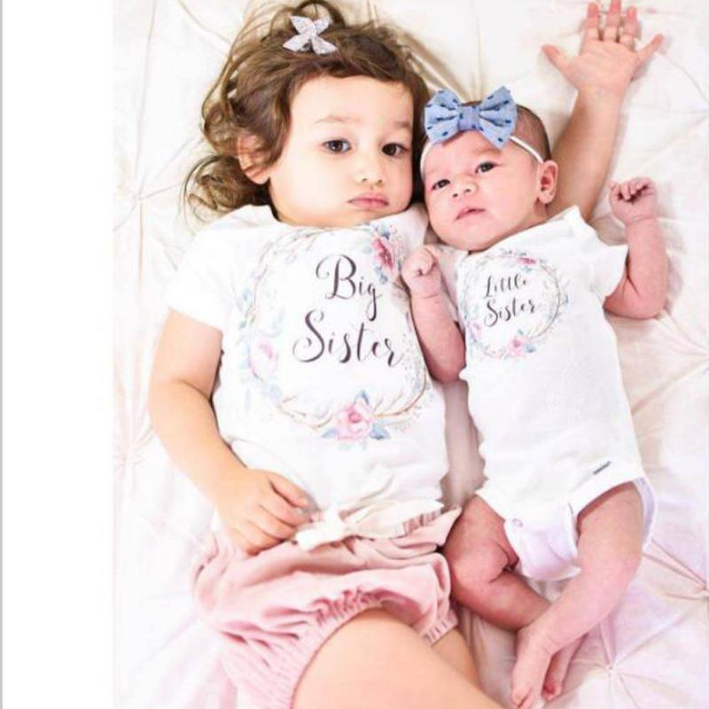 Summer Sweet Baby Kids Girls Little Big Sister Match Clothes Jumpsuit Romper Outfits T Shirts Family Matching Outfits