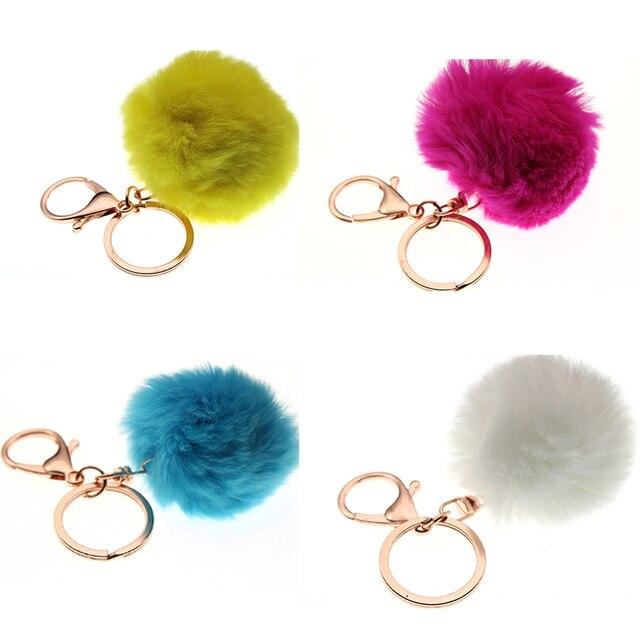 16 cores Bugiganga Chaveiros Chaveiro Bola De Pêlo Pompom Pele Artificial no Saco Bonito Fofo Falso Pompom Acessórios Pingente 3 -8 cm