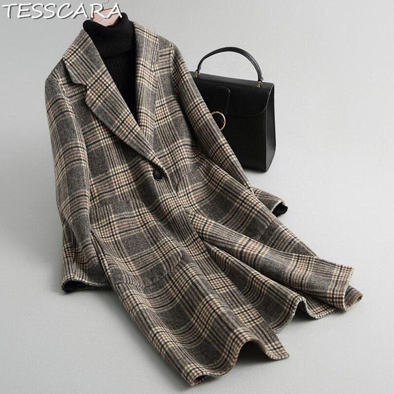 TESSCARA Frauen Herbst Plaid Wolle Mischung Mantel Weibliche