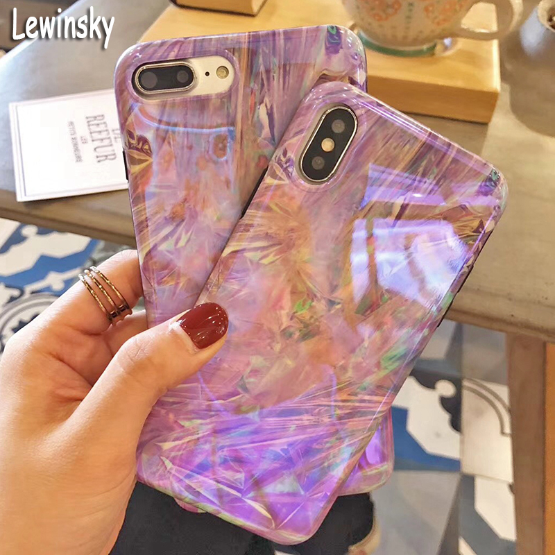7 Plus Fashion Vintage Ice Lines Phone Case For iPhone 7 Case 7P Soft IMD Smooth Dream violet Glossy Back Cover Coque Phone Bags