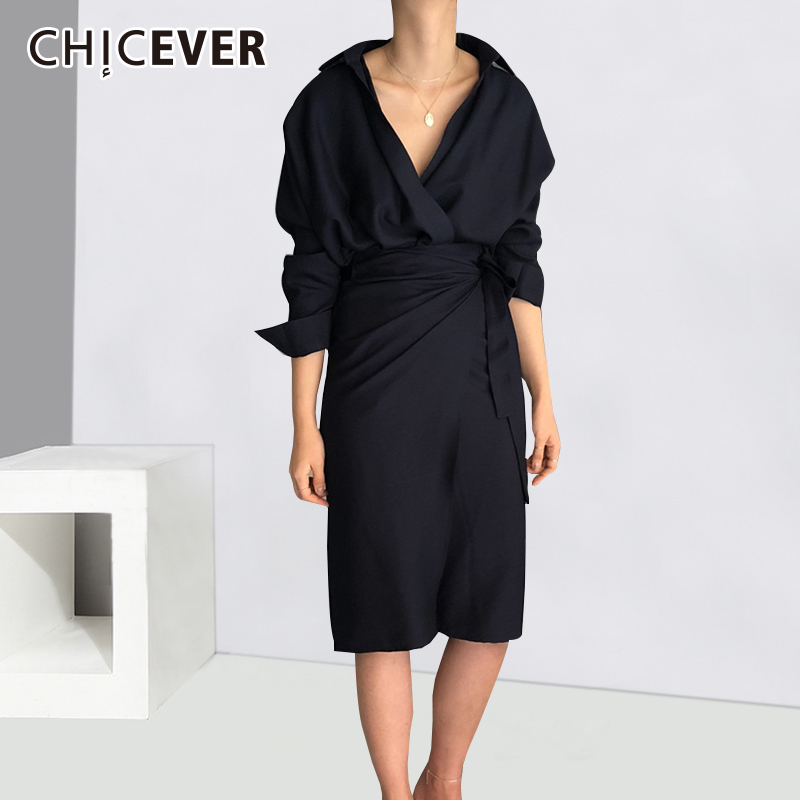CHICEVER Bow Bandage Dresses For Women V Neck Long Sleeve High Waist Women's Dress Female Elegant Fashion Clothing New 2019