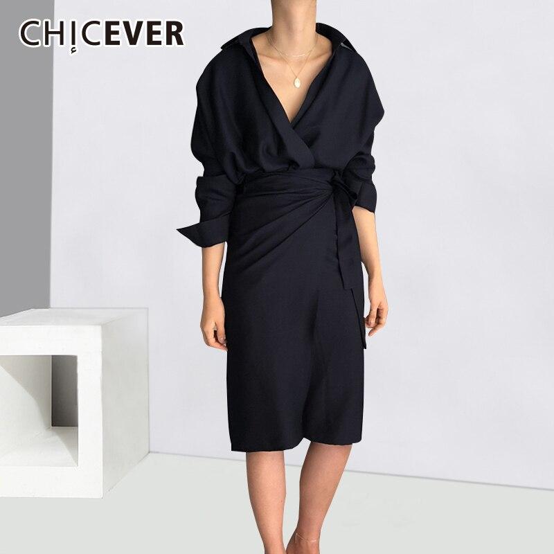 CHICEVER Bow Bandage Dresses For Women V Neck Long Sleeve High Waist Women's Dress Female Elegant Fashion Clothing New 2020