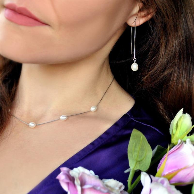 ASHIQI 925 srebrne srebrne naušnice za žene 7-8mm prirodni - Fine nakit - Foto 5