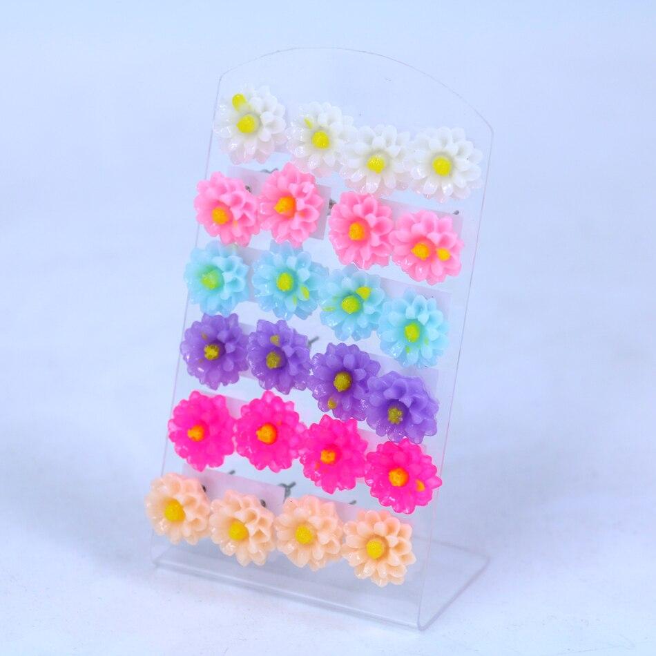 Synthetic Opal Chrysanthemum Flower Ear Stud Earrings