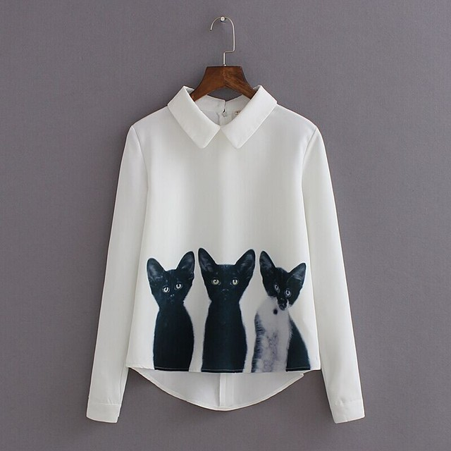 S-xl white printed tops  three cats all-match pullover long-sleeved  loose-fitting chiffon  Blusas WL2404
