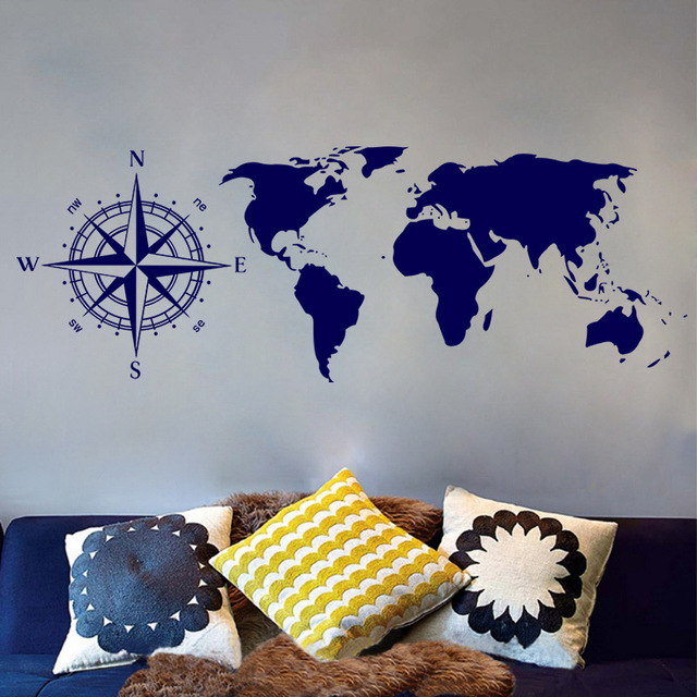 World Map Removable Wall Sticker.World Map Removable Wall Sticker Compass Home Living Room Bedroom