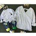 2016 baby boy одежда мать сын рубашка с длинным рукавом в полоску семья соответствия осень детей clothing kids верхней одежды v шеи рубашки
