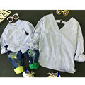 2016 baby boy clothes mother son shirt long sleeve striped family matching autumn children clothing kids outwear v neck shirts