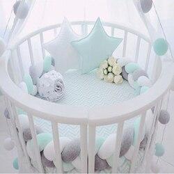 200 cm longitud de la cama de bebé parachoques Color puro tejido de peluche bebé cuna Protector para los recién nacidos, decoración de la habitación de bebé