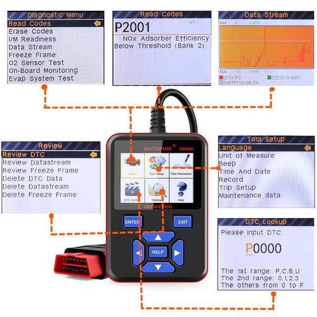 US $64 0 |Autophix OM580 Obd2 Scanner Auto Automotive Scan Tools Engine DSC  Fault Diagnostic Tool o2 Sensor Evap System Test Odb2 Adapter-in Code