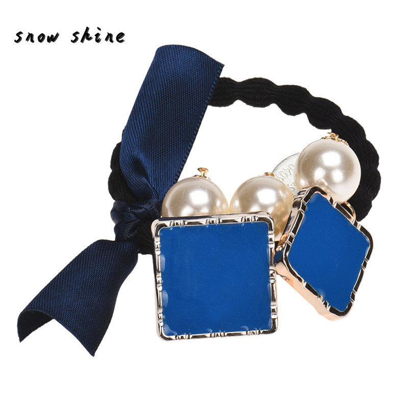 snowshine YLIW Bow Square Pearls Hair Band Rope Scrunchie Ponytail Holder free shipping *cydj