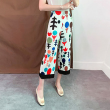 Plus Size Pants Summer Woman 2019 New Elastic Waist Printed Mid-Calf Length Casual Straight Trousers Loose Stretch Miyake Pleats mid calf flower print straight womens pants