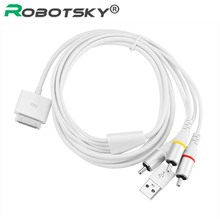 High Quality 30 Pin Dock Connector To TV R/L 3RCA Video Composite AV Cable For Apple iPad 2 For iPod For iphone 4 With USB Cabo