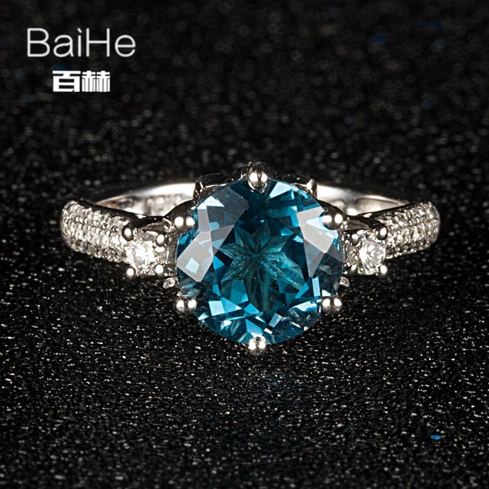 BAIHE Sterling Silver 925 2.6ct Certified Flawless Round Genuine London Blue Topaz Wedding Women Trendy Fine Jewelry unique Ring
